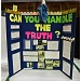 science fair project display board with project title in large letters
