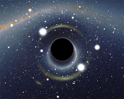 Drawing of a black hole in space