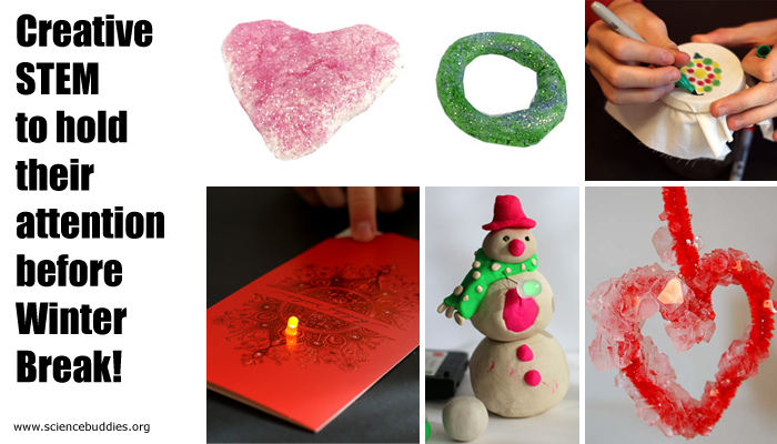Photo collage of six holiday themed science projects