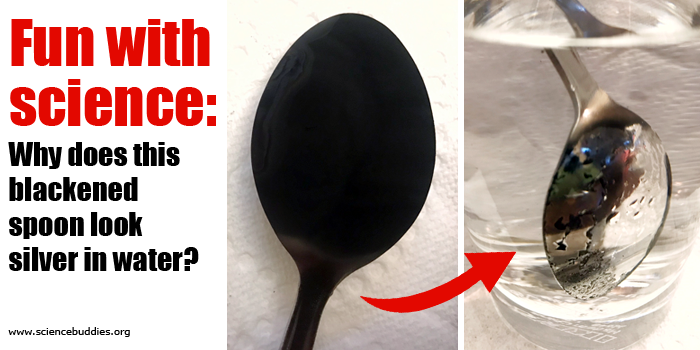 Two photos of a black spoon and the same spoon appearing silver while in a glass of water