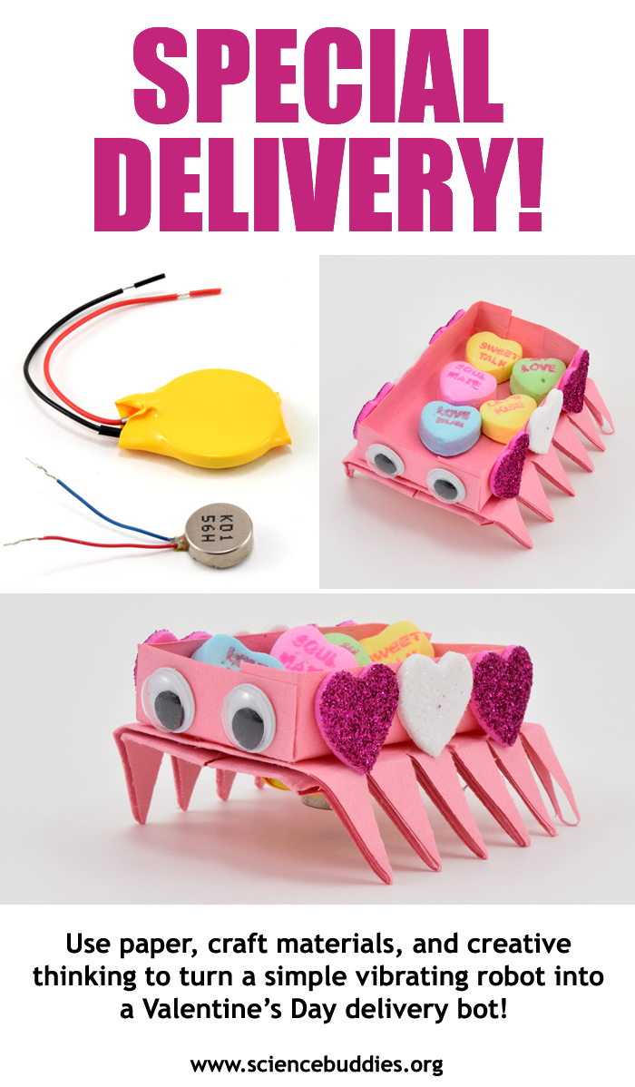 Three photos show a pink valentines themed vibrobot carrying heart-shaped candies