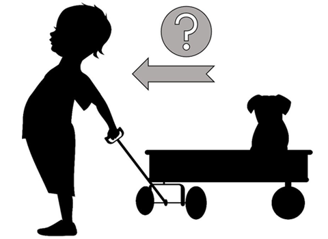 Outline of a child pulling a small wagon