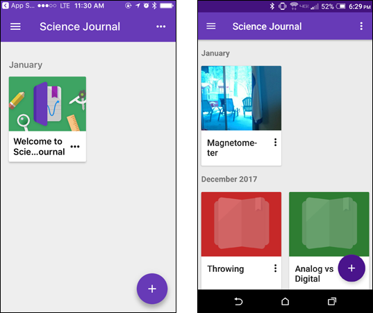 Main screen in the Science Journal app