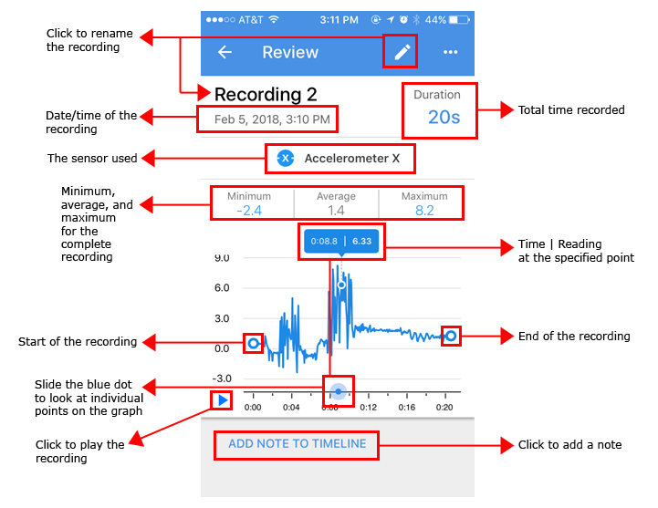 Reviewing a recording in Science Journal app