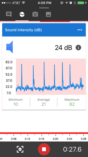Screenshot of a recording for a sound intensity sensor card in the Google Science Journal app