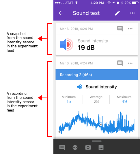 Screenshot shows a snapshot and recording of a sound intensity sensor card in the Google Science Journal app