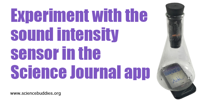 A smartphone with the Google Science Journal app opened underneath an empty Erlenmeyer flask