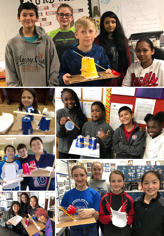 Photo collage of six student teams that competed in the 2018 Fluor Challenge