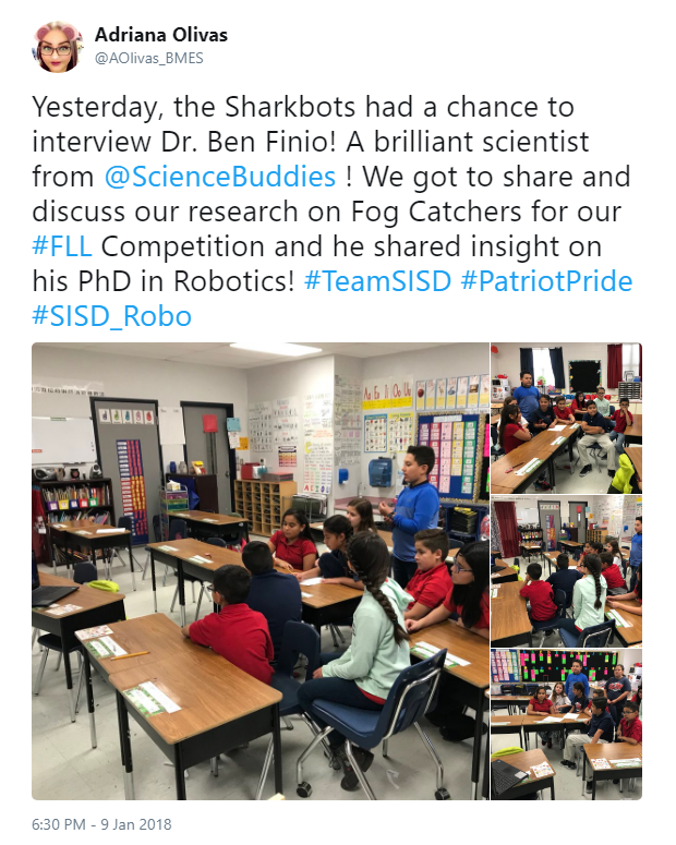 Teacher tweets about her students meeting online with robotics expert, Ben Finio