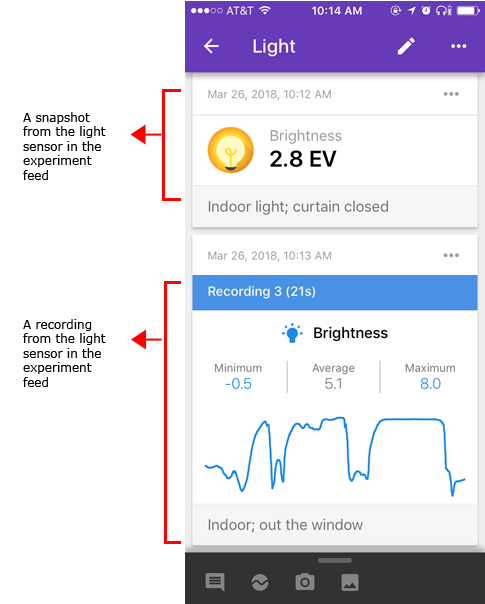 Google Science Journal and the Light Sensor in the experiment feed