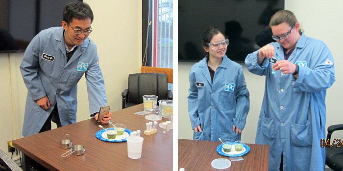 Two photos of volunteers from PPG Industries conducting a luminol chemistry project
