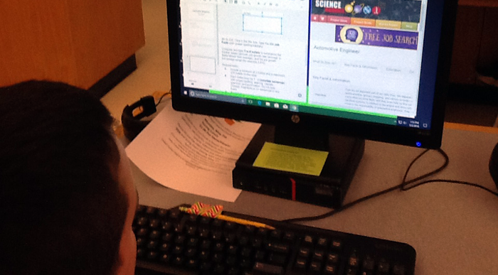 A student views the website ScienceBuddies.org on a computer monitor