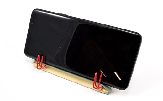 DIY cell phone stand made with school supplies