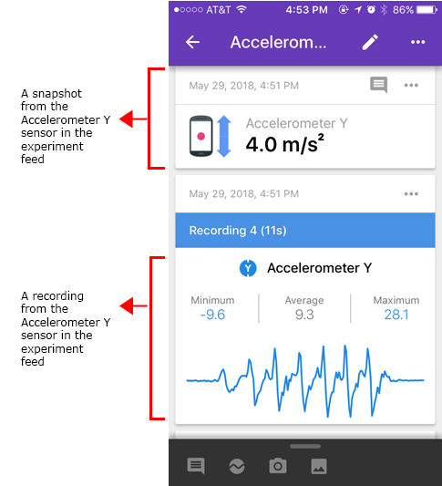 Accelerometer in the Google Science Journal experiment feed