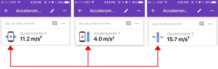 Cropped screenshot of three snapshots of an accelerometer sensor card in the Google Science Journal app