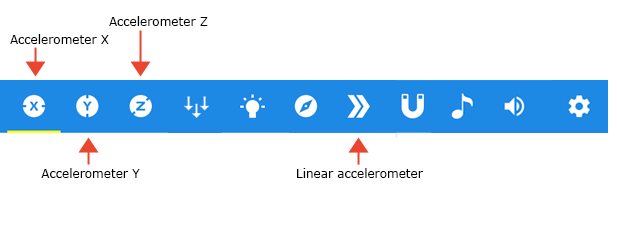 Cropped screenshot of a sensor icon tray in the Google Science Journal app