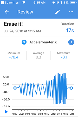 Screenshot of a recording review for an accelerometer X sensor card in the Google Science Journal app