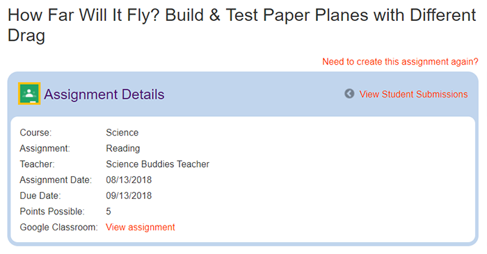 Cropped screenshot of details for an assignment posted in Google Classroom on ScienceBuddies.org