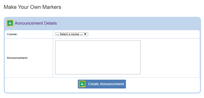 Cropped screenshot of an announcement being created for Google Classroom on ScienceBuddies.org