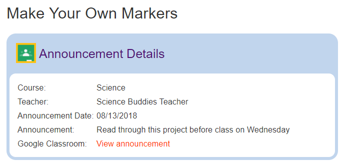 Summary of announcement details at Science Buddies