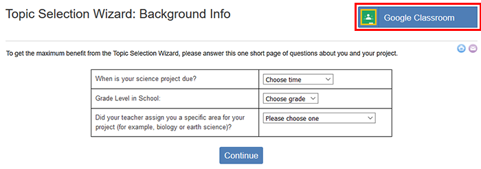 Cropped screenshot of a Create Assignment button highlighted on the Science Buddies Topic Selection Wizard