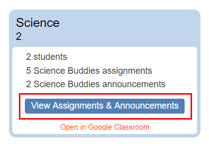 Cropped screenshot of a View Assignments & Announcements button in Google Classroom