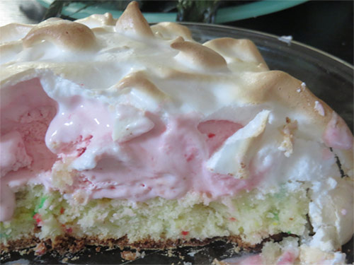 Inside view of baked ice cream cake; layers with cake, ice cream, meringue