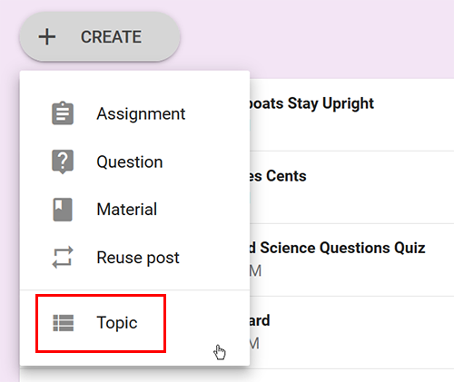 Create a topic in Google Classroom