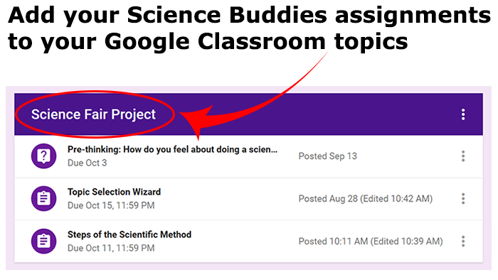 Add Science Buddies assignments to topics in Google Classroom