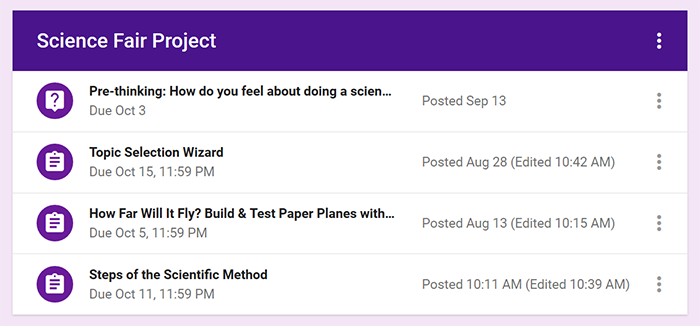 Cropped screenshot of assignments and announcements in a Science Fair Project topic in Google Classroom