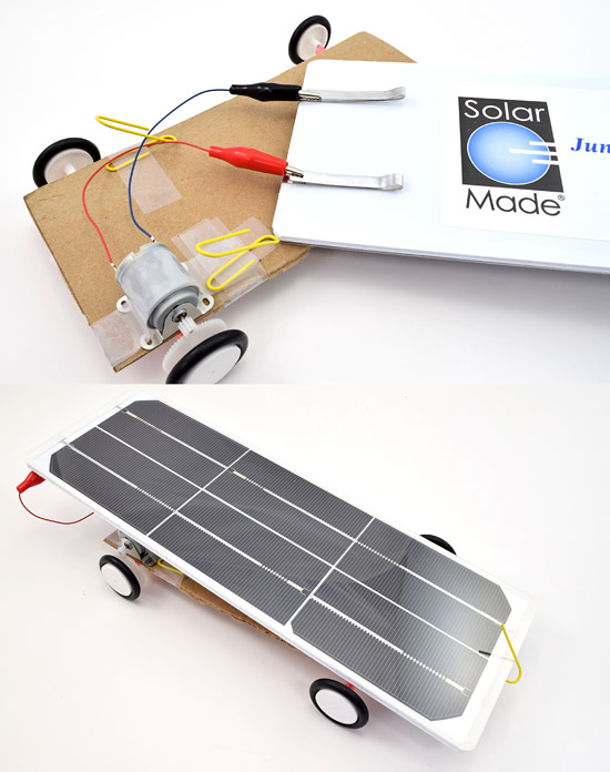 Solar panel attached to motor wires and secured to chassis on solar car