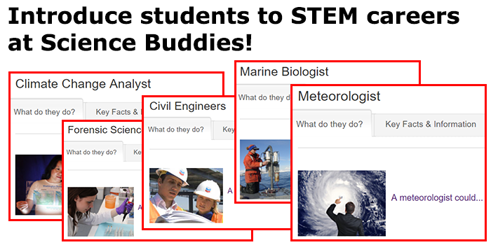 Cropped screenshots of five career profiles from the website ScienceBuddies.org