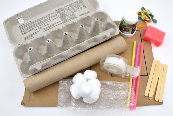 Egg carton, cardboard tube, cotton balls, tape, straws, paper cups, rubber bands, a sponge, popsicle sticks and plastic wrap