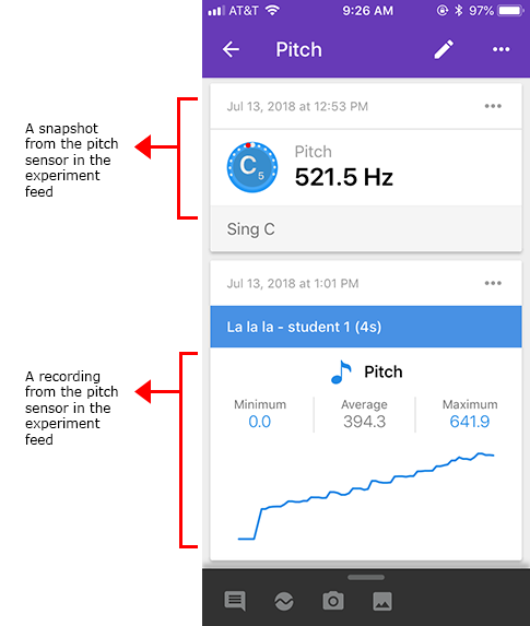 Screenshot shows a snapshot and recording of a pitch sensor card in the Google Science Journal app