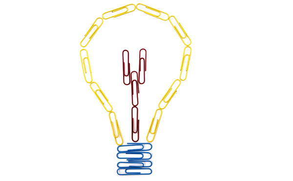 Light bulb made from paper clips
