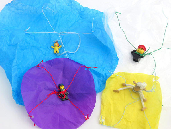 several diy parachutes colorful