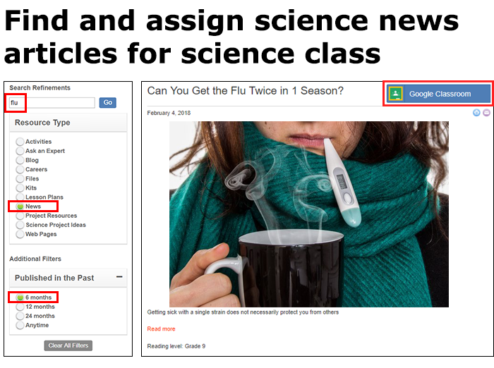 Add science news reading assignments to your science class