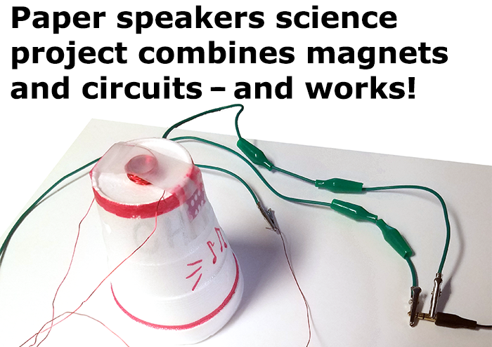 A paper speaker made from a wire coil, alligator clips, tape and a paper cup