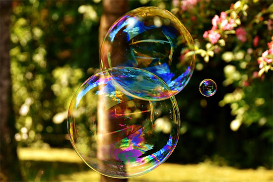 Large bubbles float in the air
