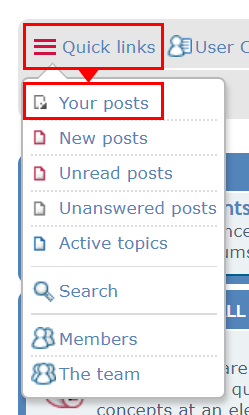 Use the QuickLinks menu to access your posts