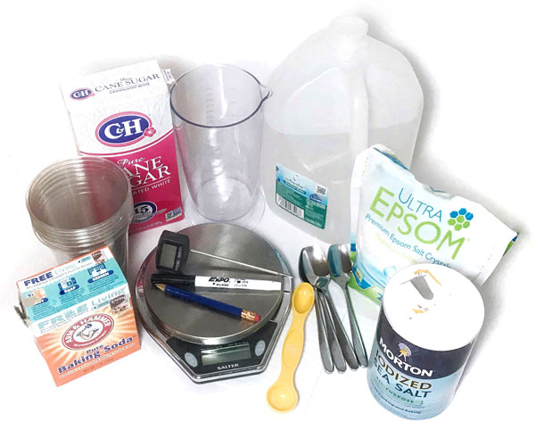 Materials needed for the solubility activity