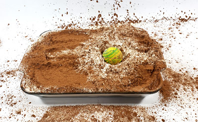 A crater created in a tray of flour and cocoa powder by a dropped ball.