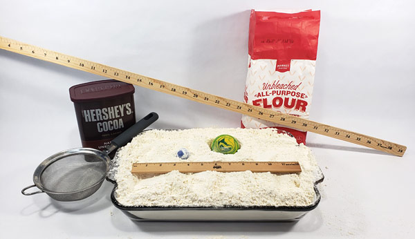 Materials required to do the flour crater science activity
