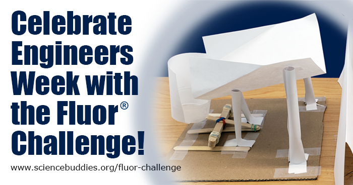 Banner for the 2019 Fluor Engineering Challenge shows a ball catcher and launcher made from paper, popsicle sticks and tape
