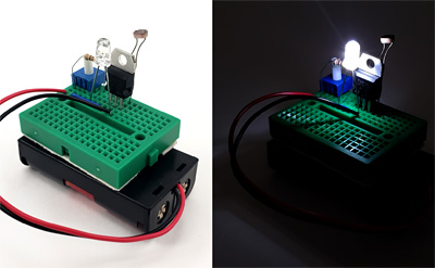 Side by side comparison of LED night light circuit, with LED off in daylight and LED on at night - thumbnail image