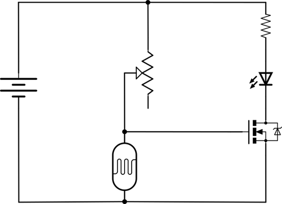 Circuit diagram for an LED night light