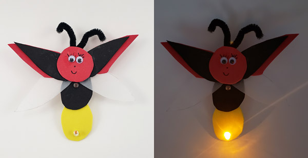 A firefly made from craft foam with an LED in its tail. When it gets dark, the LED lights up.