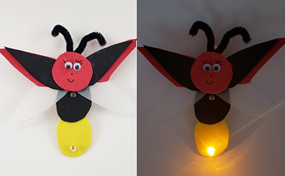 A firefly made from craft foam with an LED in its tail. When it gets dark, the LED lights up. thumbnail image