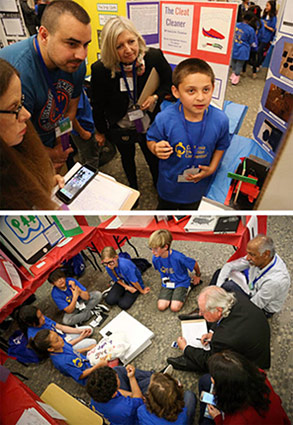 Two photos of students talking to volunteer judges at the California Invention Convention