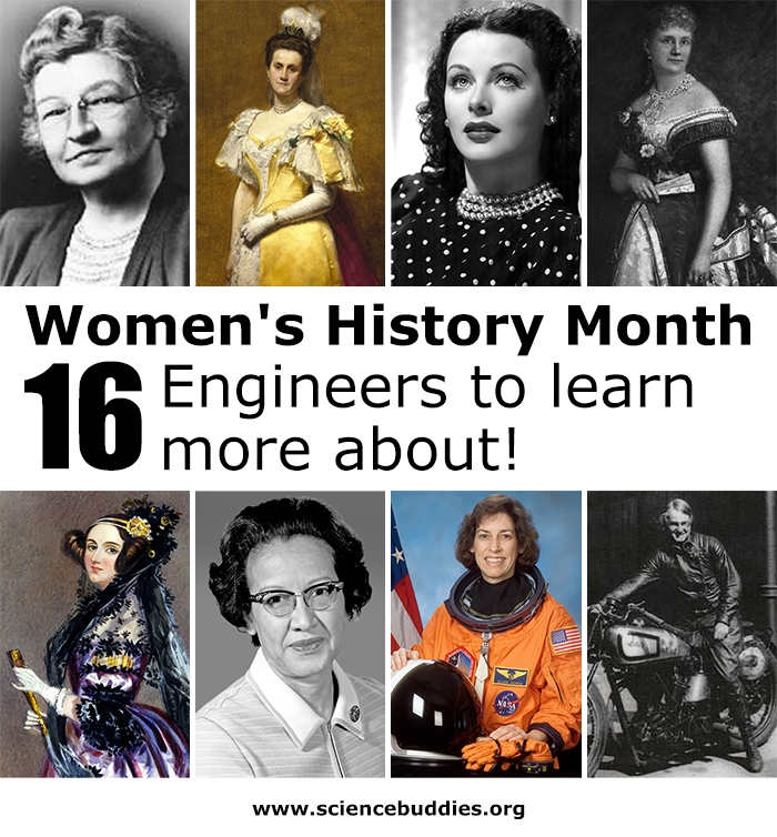 Learn More About these 16 Women Engineers, Inventors, and Mathematicians as part of Women's History Month. Photos of 8 female engineers. onth
